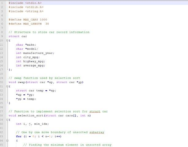 C Program to sort structure of cars, file I/O